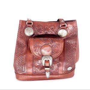 American West Women's Genuine Leather Handbag BRWN